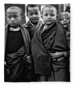 Young Monks II Bw Fleece Blanket