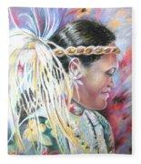 Young Polynesian Mama Fleece Blanket