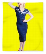 Young Retro Pinup Girl Wearing Sailor Uniform Fleece Blanket