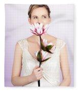 Young Romantic Woman With Lotus Flowers Fleece Blanket