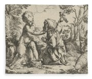 Young Saint John The Baptist Kneeling Before The Infant Christ Fleece Blanket