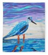 Young Seagull Coastal Abstract Fleece Blanket