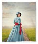 Young Victorian Woman On A Country Path Fleece Blanket