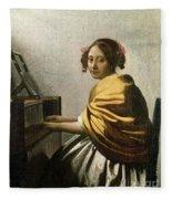 Young Woman At A Virginal Fleece Blanket