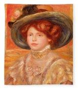 Young Woman In A Blue Hat Fleece Blanket
