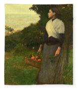 Young Woman In A Garden Of Oranges Fleece Blanket