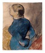 Young Woman In Blue Fleece Blanket