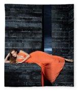 Young Woman In Long Orange Dress Fleece Blanket