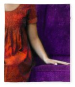 Young Woman In Red On Purple Couch Fleece Blanket
