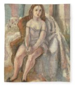 Young Woman In White Chemise Fleece Blanket