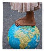 Young Woman Standing On Globe Fleece Blanket