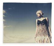 Young Woman Standing On The Beach Fleece Blanket