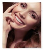 Young Woman With A Natural Smile Fleece Blanket