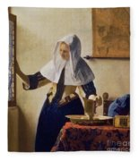 Young Woman With A Water Jug Fleece Blanket