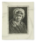 Young Woman With Hat And Curly Hair Fleece Blanket