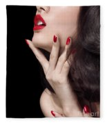 Young Woman With Red Lipstick Sensual Closeup Of Mouth Fleece Blanket