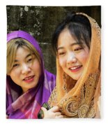 Young Women Silk Scarves 01 Fleece Blanket