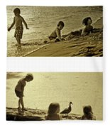 Youth At The Water Fleece Blanket