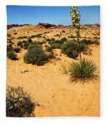 Yucca And Desert Primrose In The Valley Of Fire Fleece Blanket