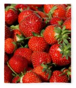 Yummy Fresh Strawberries Fleece Blanket