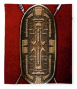 Zande War Shield With Spears On Red Velvet  Fleece Blanket