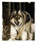 Zane Gray Wolf Fleece Blanket