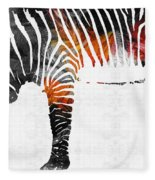 Zebra Black White And Red Orange By Sharon Cummings  Fleece Blanket
