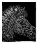 Zebra Computer Drawing Fleece Blanket