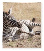 Zebra Foal Rolls In Dust On Savannah Fleece Blanket