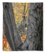 Zebra In Mopane Textures Fleece Blanket