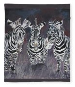 Zebra Oil Painting Fleece Blanket