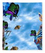 Zebras Birds And Butterflies Good Morning My Friends Fleece Blanket