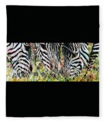 Zebras In The Grass Fleece Blanket