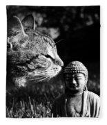 Zen Cat Black And White- Photography By Linda Woods Fleece Blanket