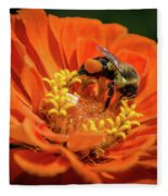 Zinnea With Honeybee Fleece Blanket