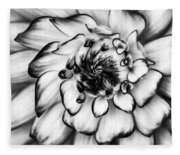 Zinnia Close Up In Black And White Fleece Blanket