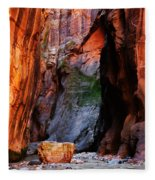 Zion Narrows With Boulder Fleece Blanket