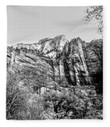 Zion National Park Utah Black White  Fleece Blanket