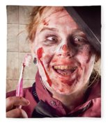 Zombie At Dentist Holding Toothbrush. Tooth Decay Fleece Blanket