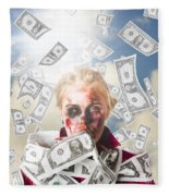 Zombie With Crazy Money. Filthy Rich Millionaire Fleece Blanket