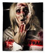 Zombie Woman Expressing Fear And Shock When Waking Fleece Blanket