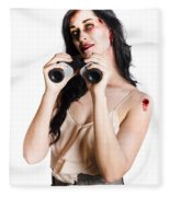 Zombie Woman With Binoculars Fleece Blanket