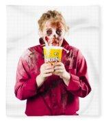 Zombie Woman With Popcorn Fleece Blanket