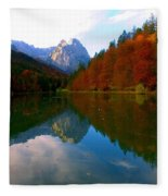 Zugspitz And Riessersee Garmish Germany Fleece Blanket