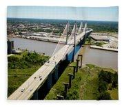 Aerial View Of Talmadge Bridge Fleece Blanket