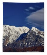 Annapurna South Peak And Pass In The Himalaya Mountains, Annapurna Region, Nepal Fleece Blanket by Raimond Klavins
