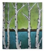 Aspen Trees On The Lake Fleece Blanket