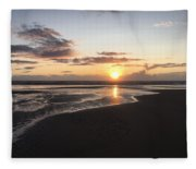 Beach Sunset, Blackpool, Uk 09/2017 Fleece Blanket