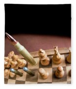 Chess Board And Bullets. Fleece Blanket