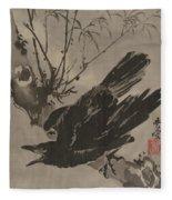 Crow On A Branch Fleece Blanket